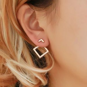 gold simple square earrings